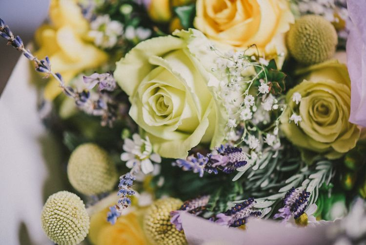 Bouquet Flowers Roses Craspedia Lavender Bride Bridal Charming Rustic Home Made Yellow Barn Wedding http://www.darrengairphotography.co.uk/