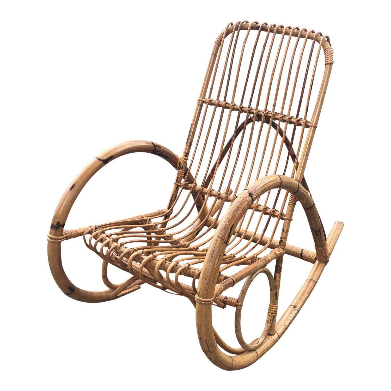 Vintage Franco Albini Rattan Rocker Rocking chair, Round