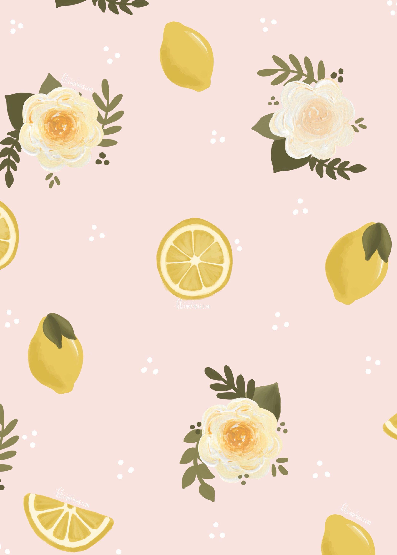 Floral Lemon Art Print Lemon Print Summer Wall Art Nursery Wall