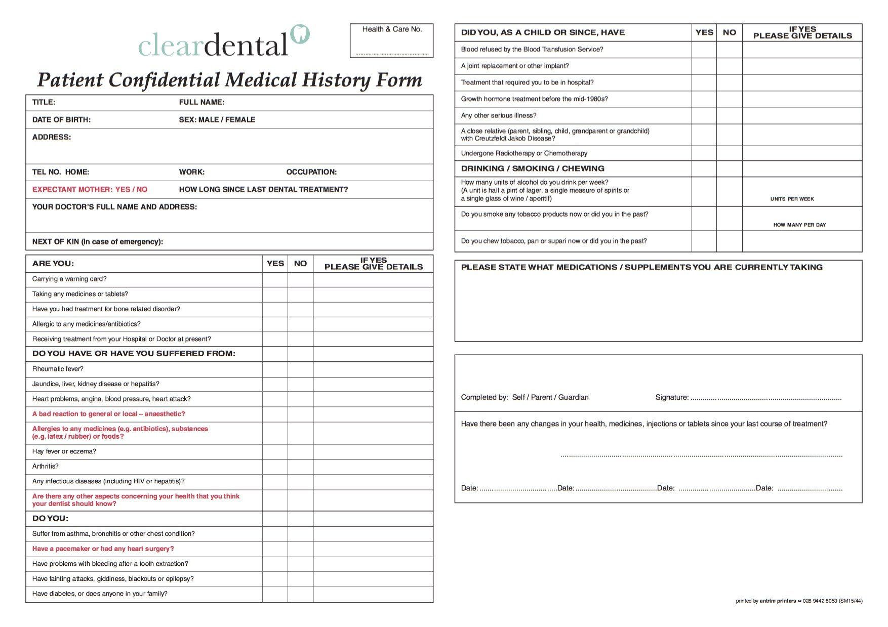 28 Dental Medical History Form Template In 2020 Medical History