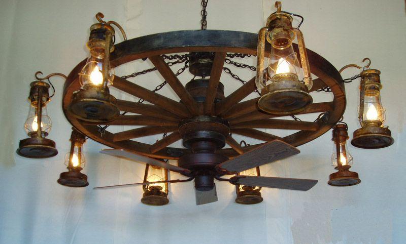 (DXWW037-60-8-FAN) 1-Tier Wooden Wagon Wheel Chandelier w/Lantern Lights  and Ceiling Fan - 1-Tier Wooden Wagon Wheel Chandelier With Lantern Lights And Ceiling