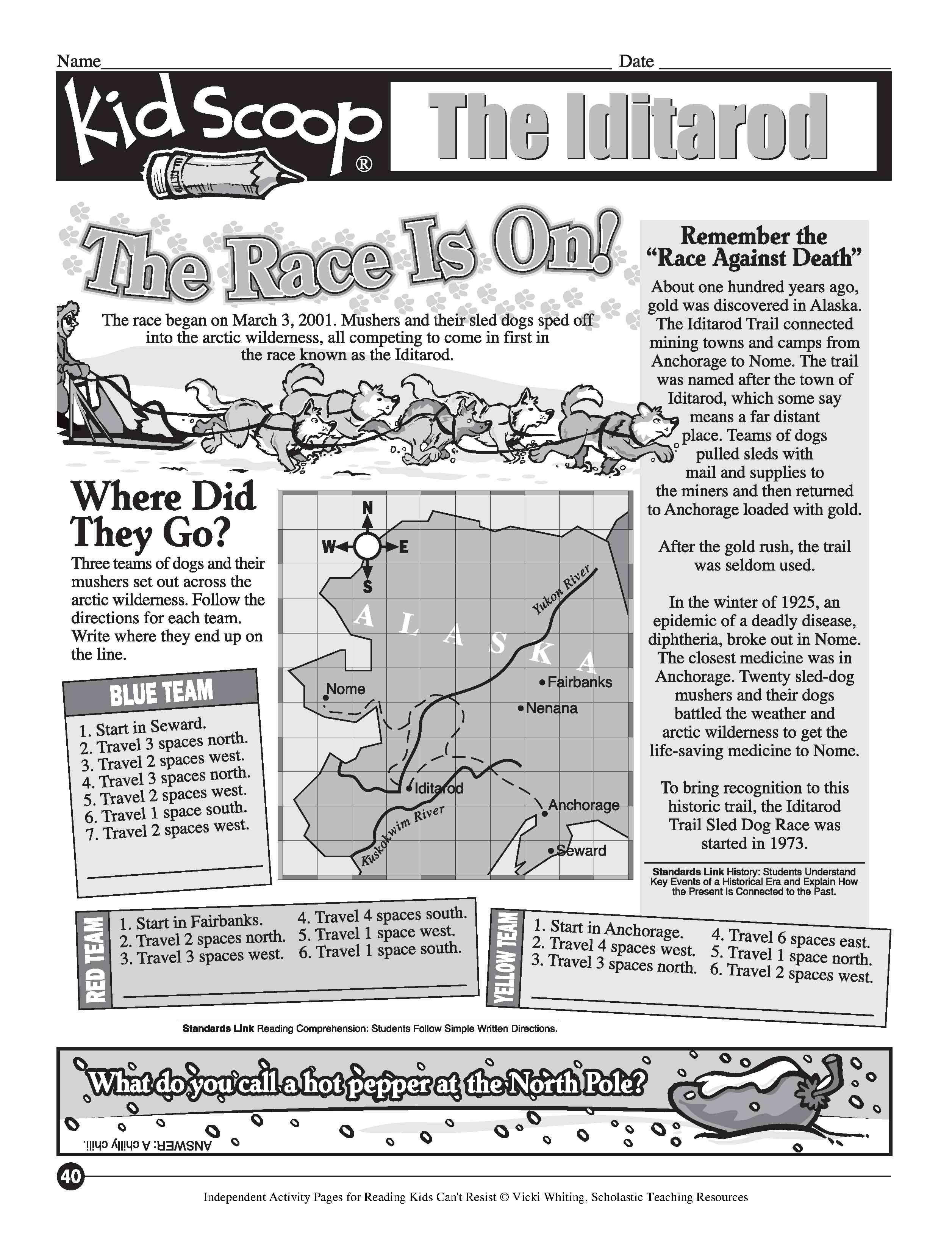 Free Printable Iditarod Worksheets