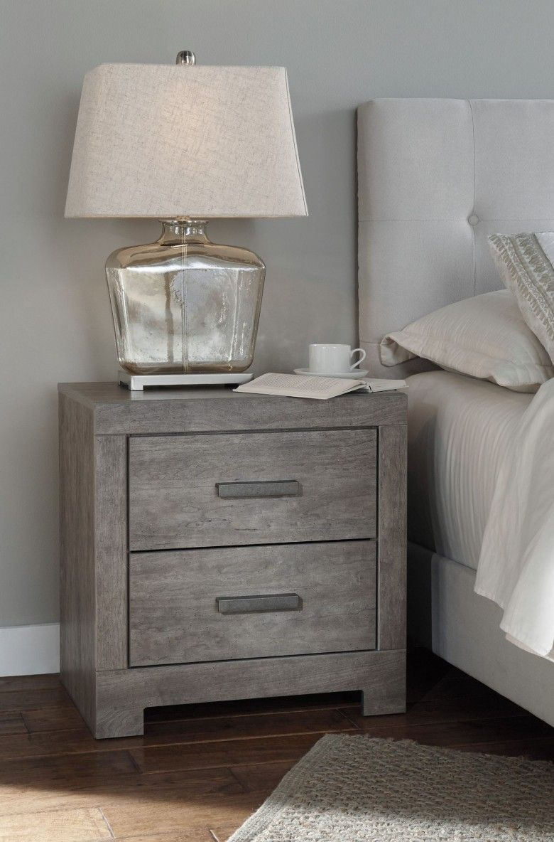 Warm Gray /& Charcoal Contemporary Vintage Bedside Table Ashley Furniture Signature Design Harlinton 2 Drawer Night Stand