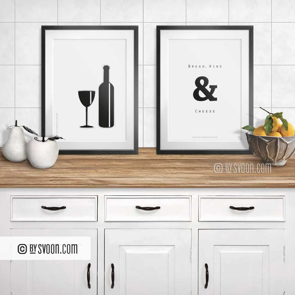 Bottle and Glass Print Minimal Wall Art Kitchen Poster   Etsy ...