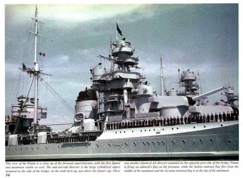 "Italian heavy cruiser ""Fiume"" was a Zara class cruiser. Picture shows bridge and amidships."