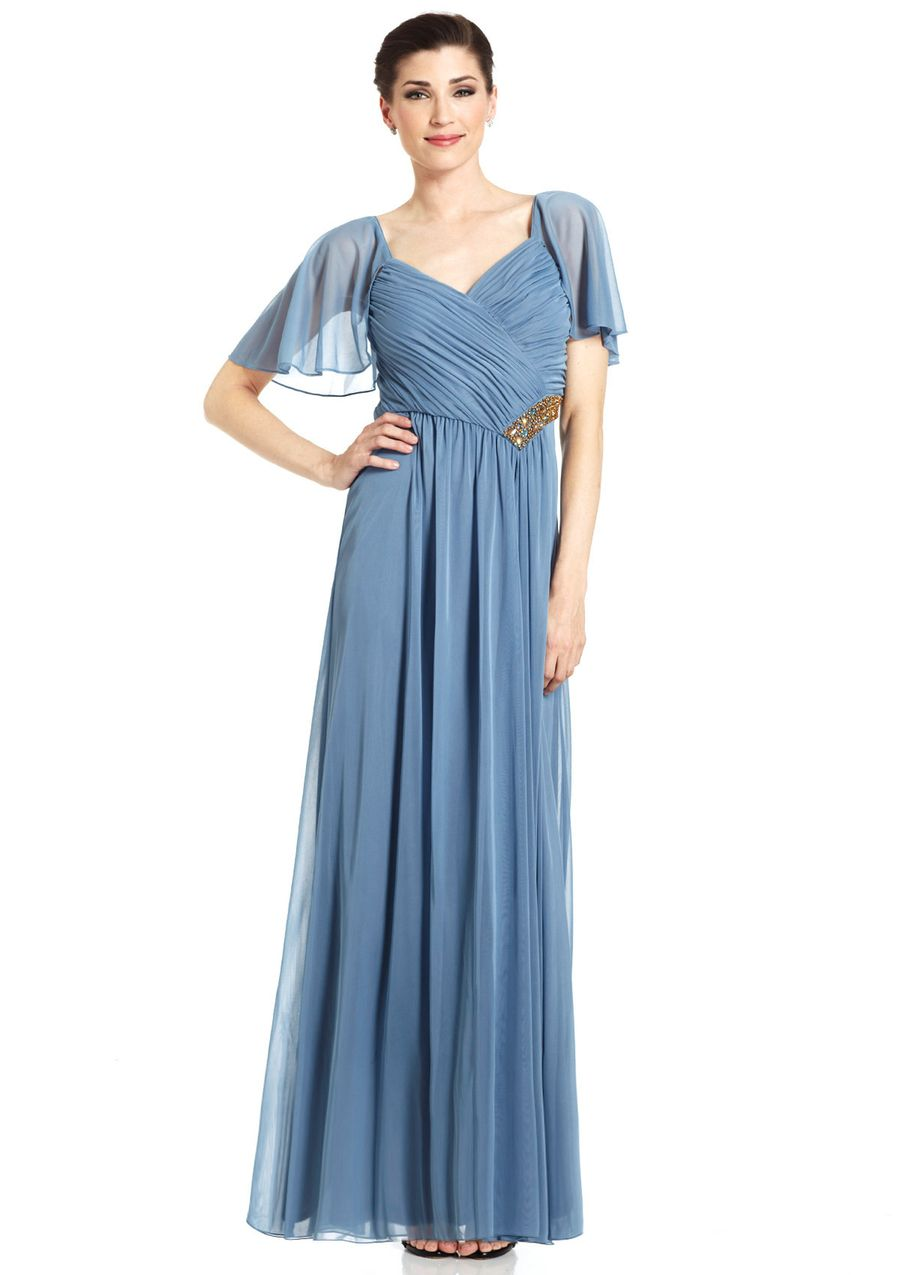 PATRA Flutter Sleeve Gown with Embellished Waist $89.99 | Dresses ...