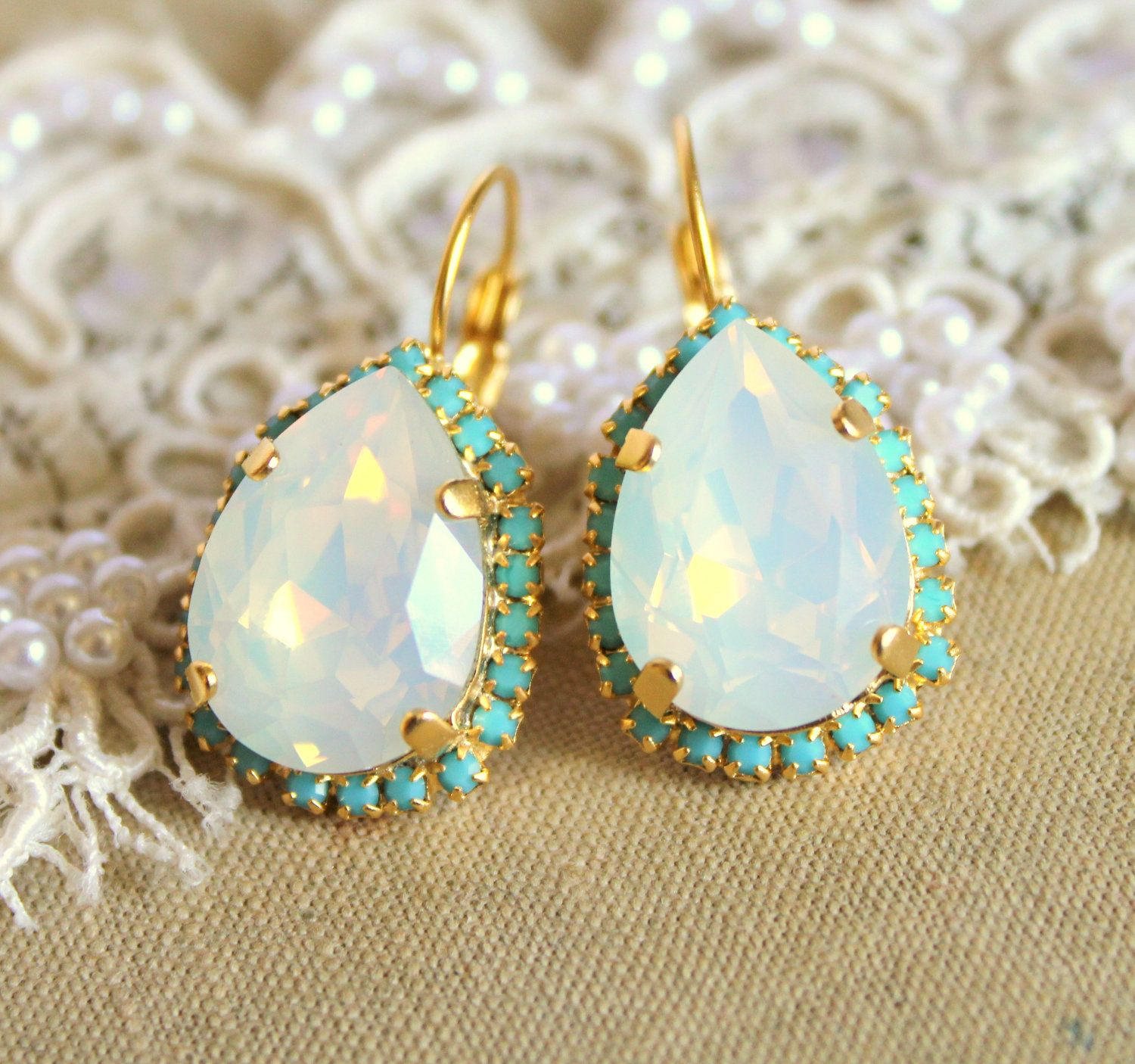 opal mint bridesmaid pin swarovski her gift studs real green bridesmaids for earrings bridal