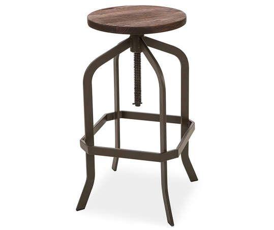 Glitzhome Elm Wood Metal Swivel Backless Adjustable Barstool