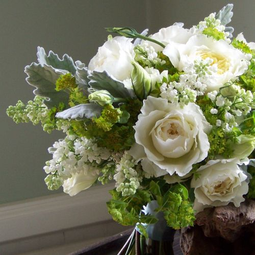 bridal bouquet with patience david austin garden roses white lisianthus white lilac bupleurum and dusty miller - White Patience Garden Rose