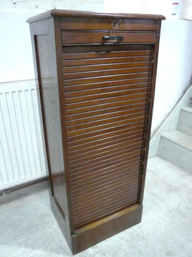 EARLY 20thC TAMBOUR FRONTED FILING CABINET | eBay