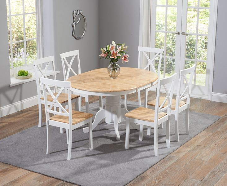 Epsom Oak And White Pedestal Extending Dining Table Set With