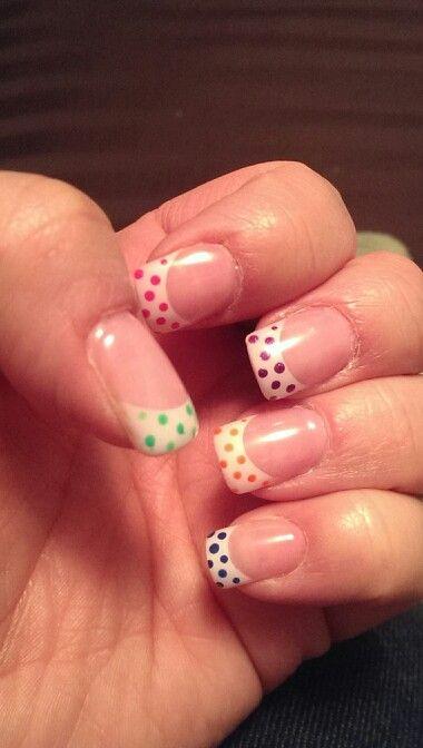 My bright colored polka dot nails