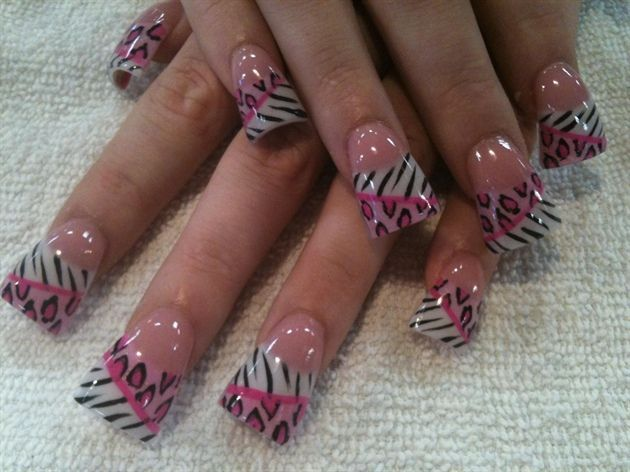 awesome pink leopard and zebra by Oli123 from Nail Art Gallery