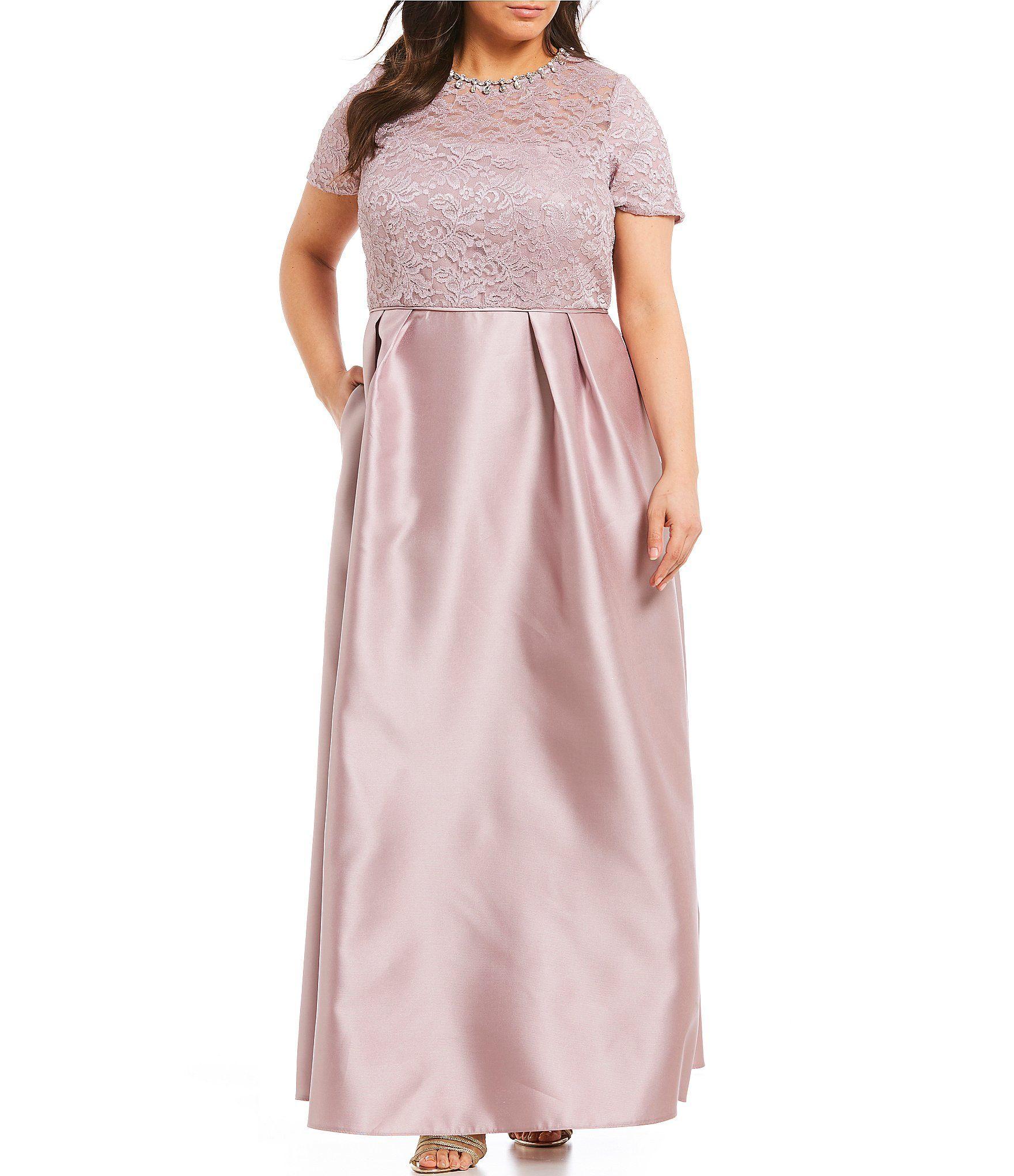 789ceb57e30 Ignite Evenings Plus Size Glitter Lace Short Sleeve Ballgown  Dillards