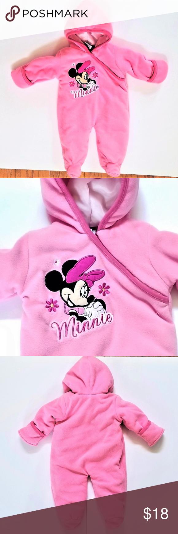 Disney Pink Snowsuit Girls 36m Like New One piece.. Hands