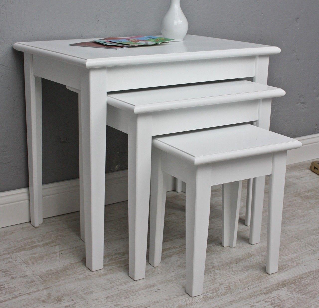 3x Tisch Beistelltisch antik weiß Landhaus Shabby Chic Nachttisch ...