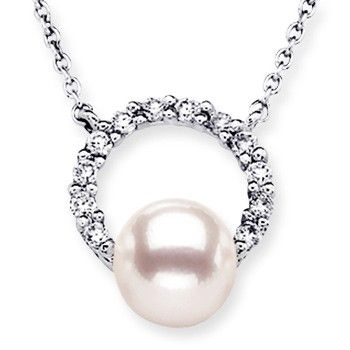 Angara Akoya Cultured Pearl Dangle Pendant with Diamond Accents aKxt298