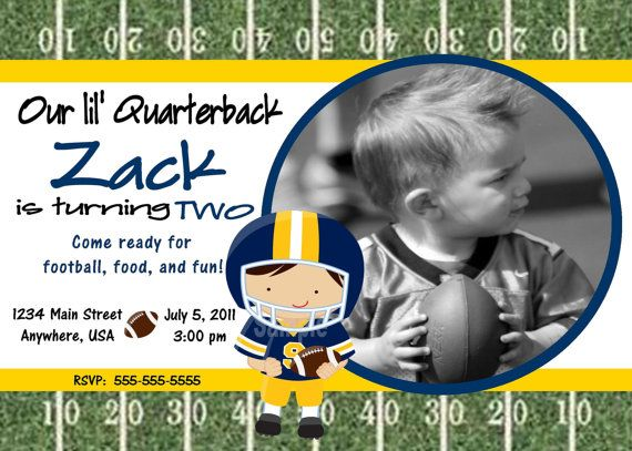 Football Blue and Yellow Birthday Party Invitation
