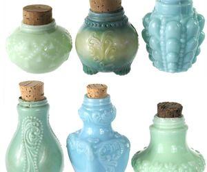 Antique Blue and Green Milk Glass Bottles at Relique.com