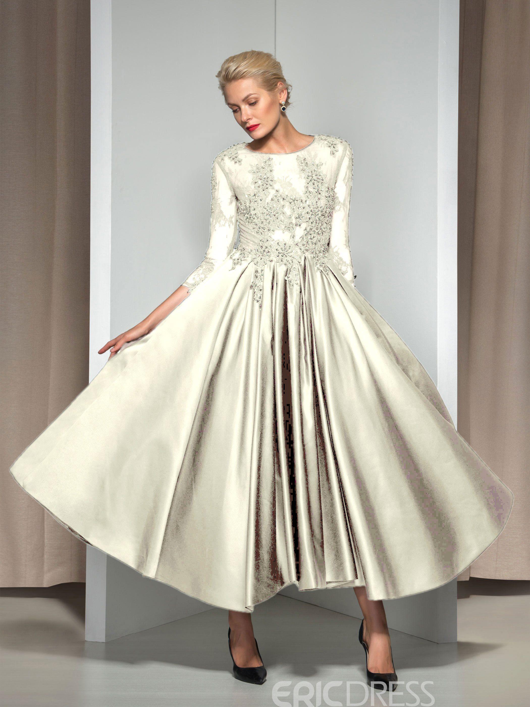 1e61d760124 Ericdress 3 4 Long Sleeve Appliques Asymmetrical Length Evening Dress  11426766 - Ericdress.com