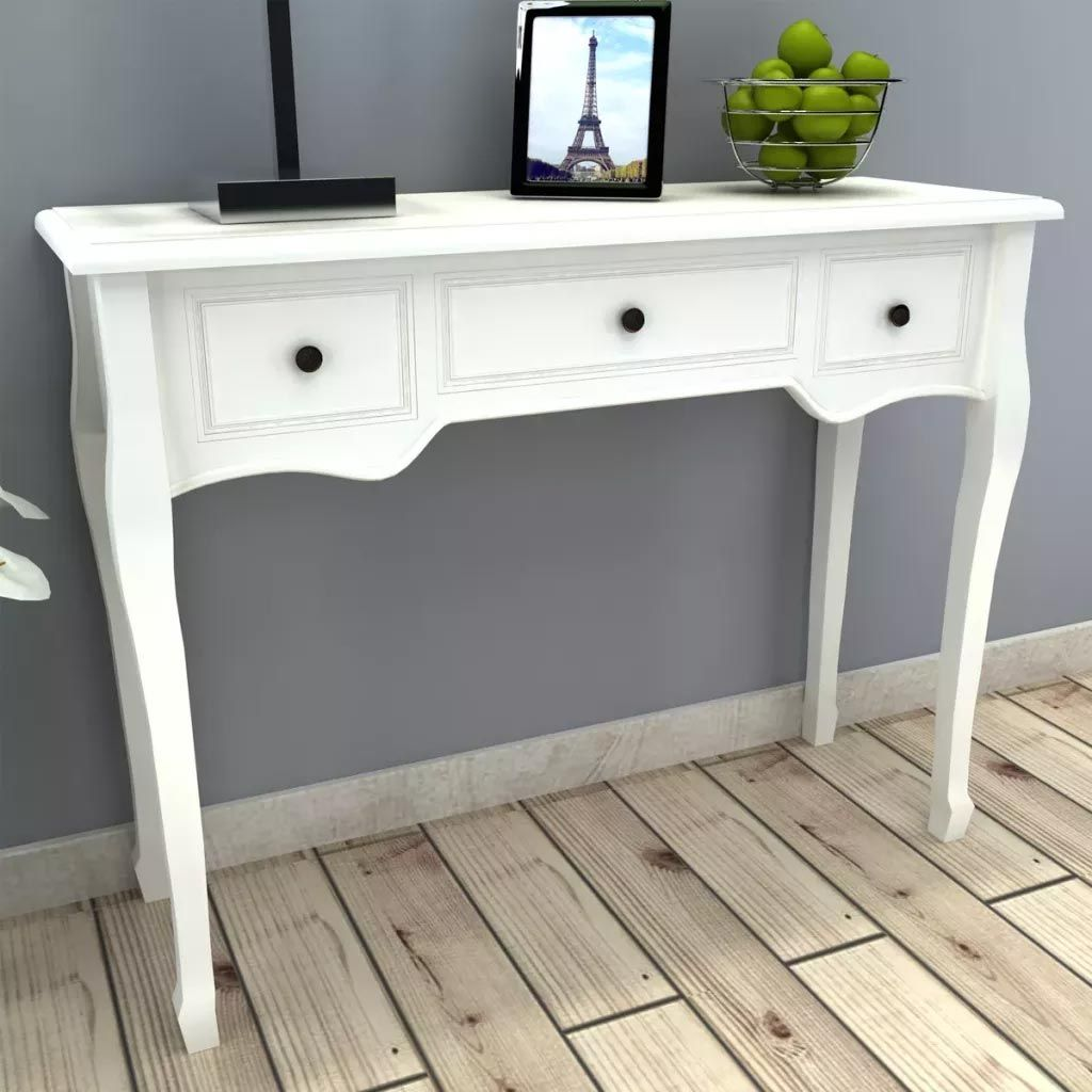White Modern Dressing Console Table With 3 Drawers Living Room