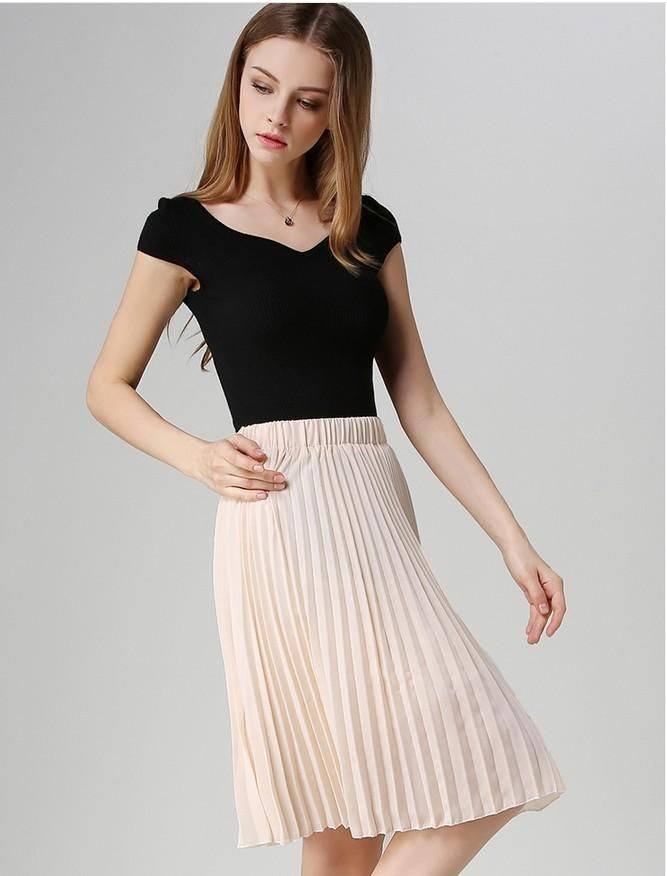 eda3a123e81 Vintage Pleated Skirt Dresses Length  Knee-Length Style  Casual Material   Cotton