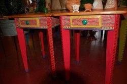 This is a perfect pair of end tables in Ultra Red with Purple and Yellow accents. 22″ x 22″ x 30″ with drawer. $375.00 each.