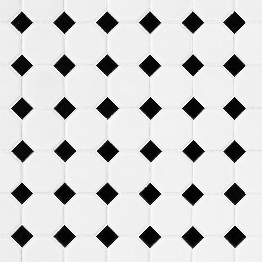 White And Black Dot Octagonal Ii Porcelain Mosaic Floor Decor Porcelain Mosaic Decorative Backsplash Tile Bathroom
