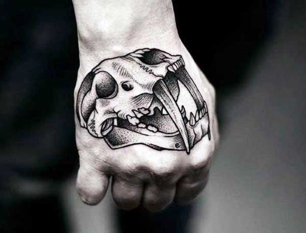 80 Skull Hand Tattoo Designs For Men Manly Ink Ideas Animal Skull Tattoos Hand Tattoos Skull Hand Tattoo