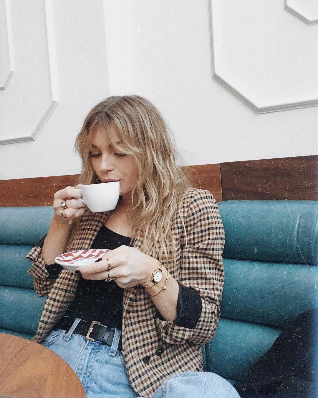 cacf22baad5 Allegra Shaw coffee shop denim plaid check hair coffee time cutoffs denim  jeans summer spring fashion style fashion jewelry