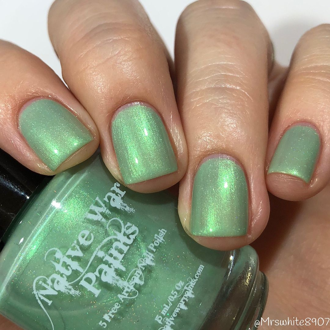 Native War Paints in Mint to Be | Iridescent Green Nail Polish ...