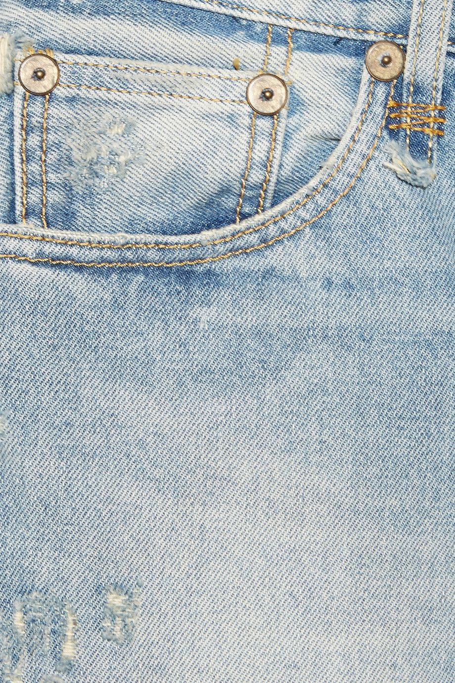 Light-blue stretch-denim Button and concealed zip fastening at front 100% cotton Machine wash Designer wash: Portsmouth Made in Italy