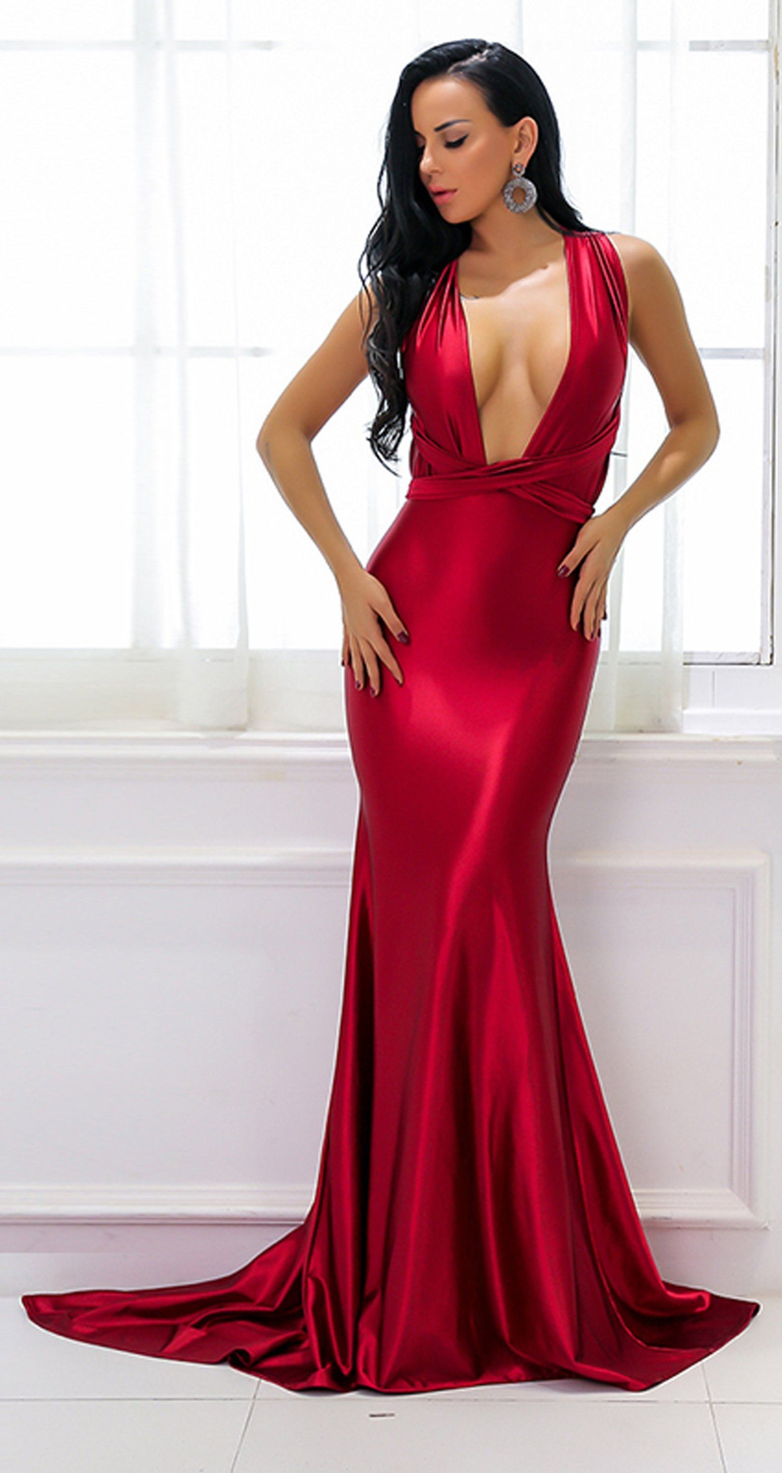 ad883f88b3 Beautiful Red Silk Prom Dresses - Gorgeous Sparkly Satin Graduation  Homecoming Deep V Neck Plunge Backless Mermaid Gown Floor Length Dress -  Hermosos ...