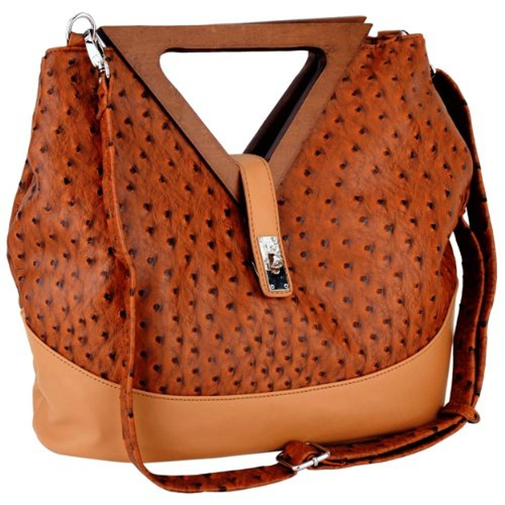 MG Collection Kora Ostrich Wood Triangle Top Handle Tote Purse
