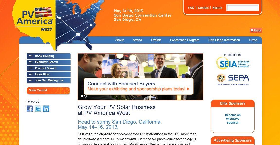 Show Promotion Website Winners  Fixation Marketing  PV America 2012 West   Under 50,000 nsf #tradeshow #sign #design #IAEE_HQ #IAEE_AOS