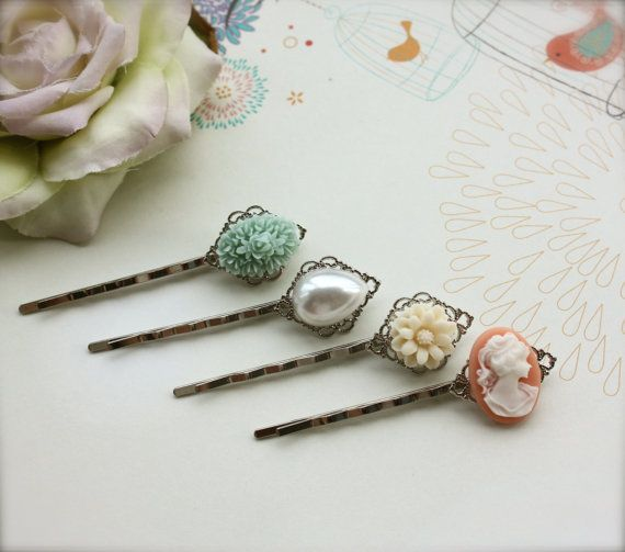 A mixture of lovely vintage Inspired bobby hair pins !    Soft, sweet colors consisting of * a soft green lucite flower bouquet cabochon  * a faux