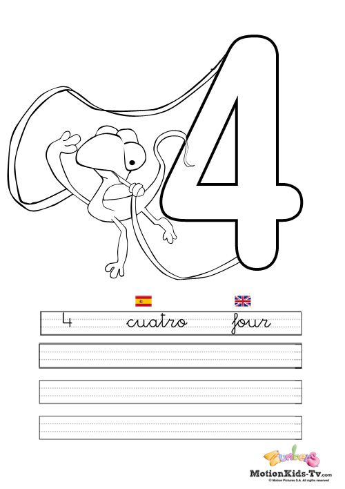 Pintas, educativos aprender numeros CUATRO -- Coloring pages ...