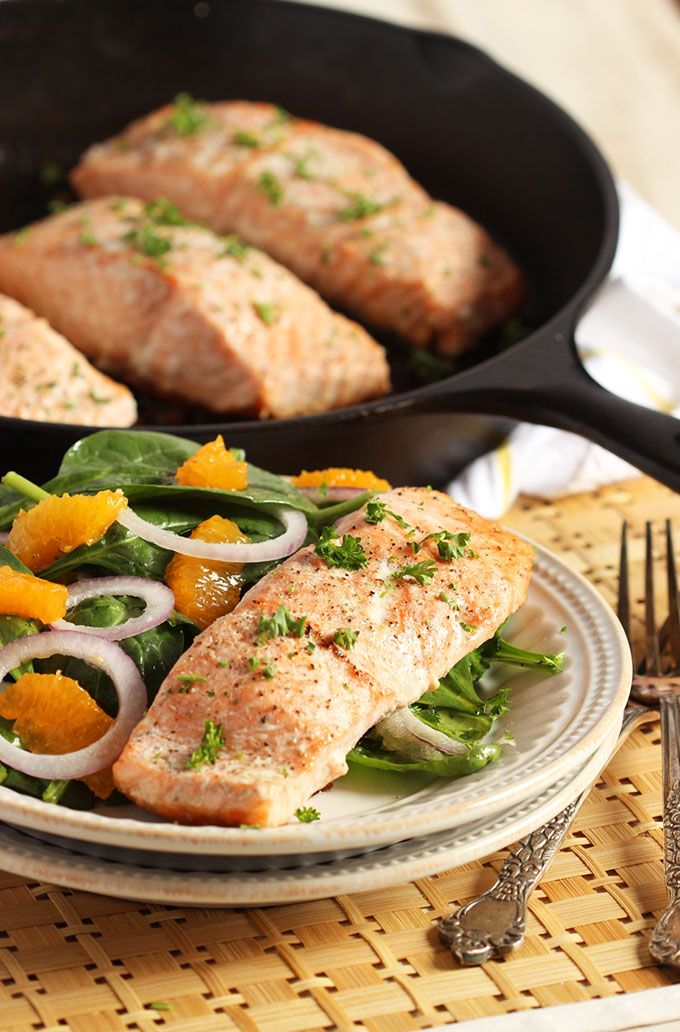 Photo of Oven Roasted Salmon with Orange Spinach Salad