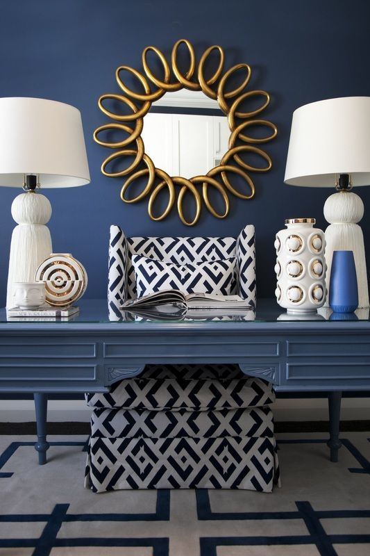 Home Decorating Ideas Glamorous Navy Blue White And Gold With Dark Navy Accent Wall Painted Desk White Gold Home Decor Gold Office Decor Blue Office Decor