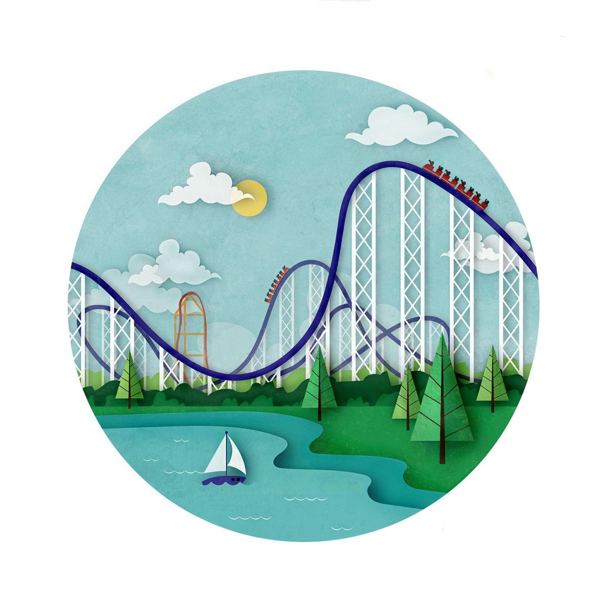 Roller Coaster Spot Illustrations on Behance Roller