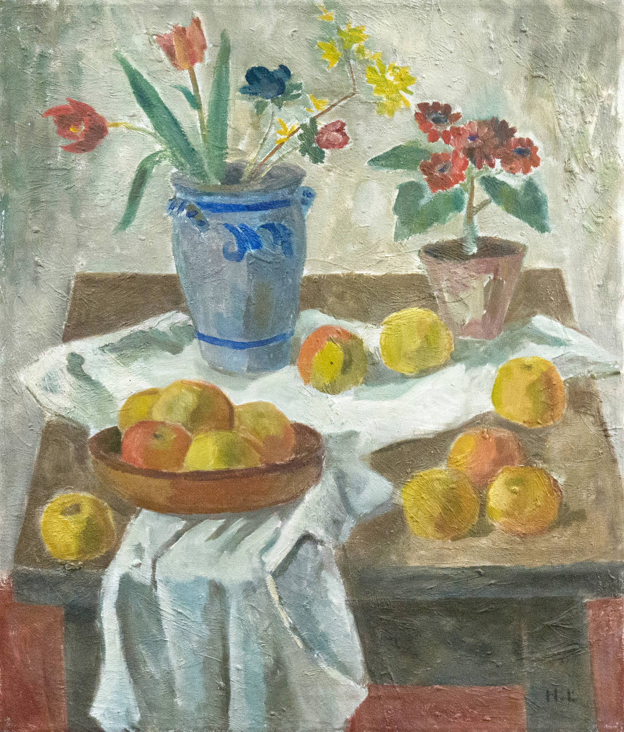 Harald Leth Danish Post Impressionist Still Life Of Flowers And Golden Apples Art Deco National Art Museum Painting Still Life Museum Of Modern Art