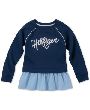 862b6a4c0 Tommy Hilfiger Big Girls Mixed Media Sweatshirt - Blue L (12 14 ...