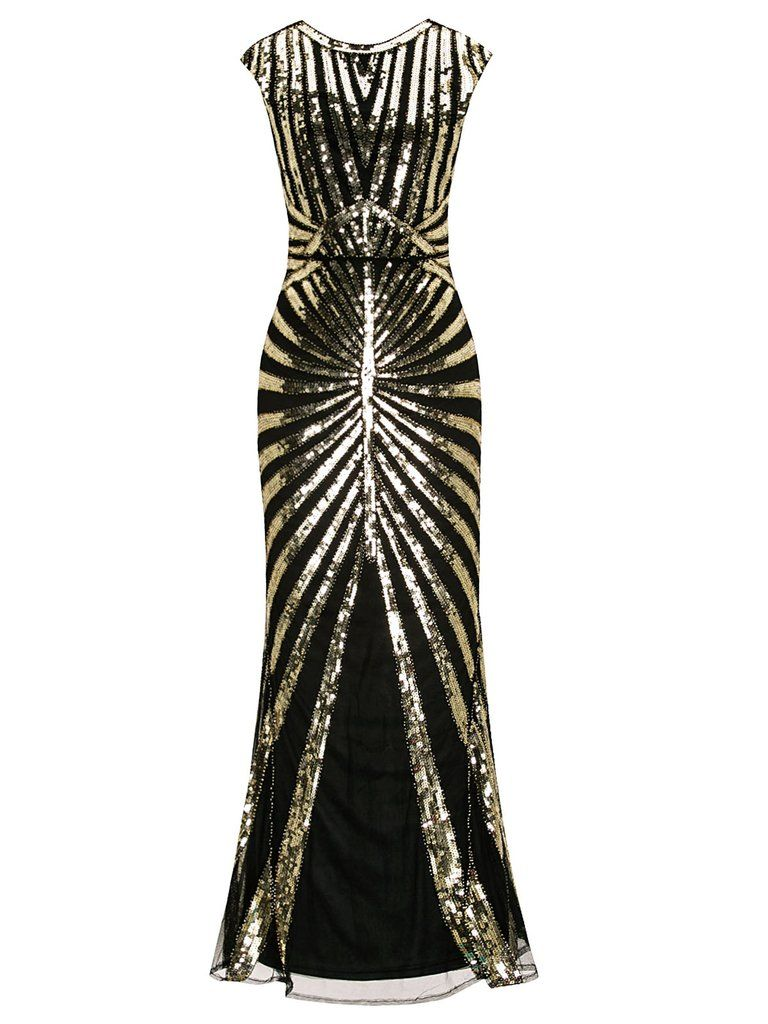 a5b0b6874e3d 1920s Sequin Art Deco Maxi Dress Vintage 20s Dresses