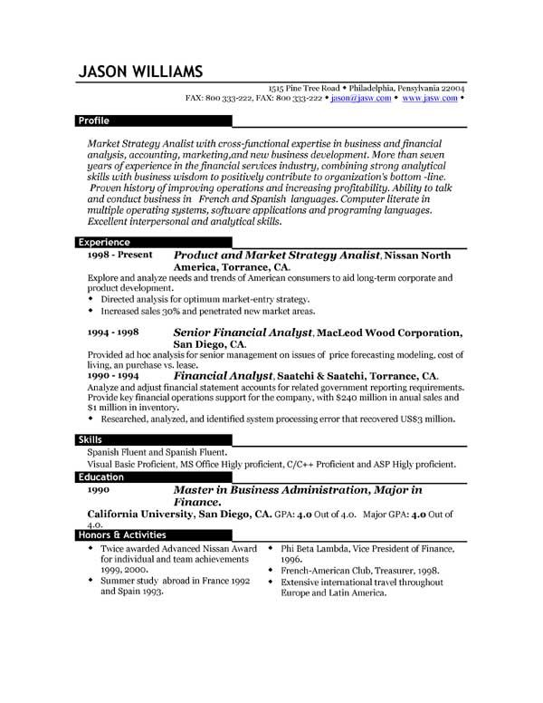 Best Resume Template Resume 85 FREE Sample Resumes by - finance resume examples