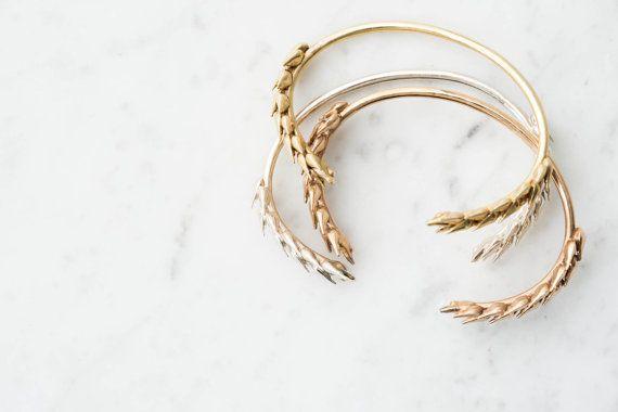 Blé botanique Bracelet manchette en laiton par CollectedEdition