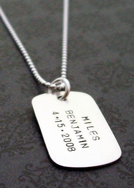 083e70978facd Dog Tag Necklace in Sterling Silver - Mens Military Style Necklace ...