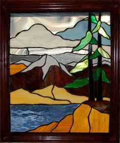Moose Stained Glass Patterns Mountains And Lake Stained