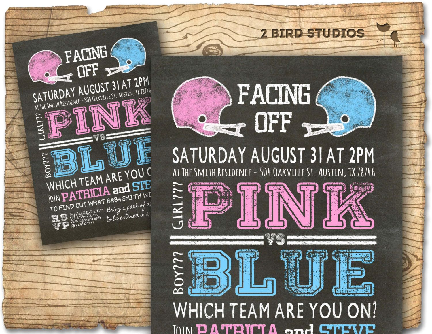 baby shower invitation for twins%0A Football gender reveal invitation football baby by  birdstudios