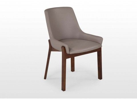 Taupe Leather Bucket Seat Dining Chair Enzo
