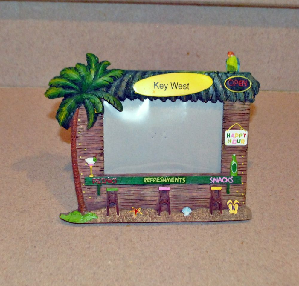 High Quality KEY WEST PICTURE FRAME Resin TROPICAL TIKI BAR Palm Tree Cute TABLETOP  Single #Unknown #